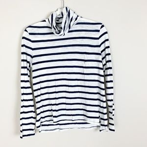 Madewell White Blue Striped Turtle Neck Sleeve
